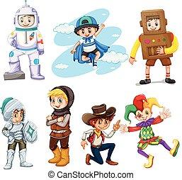 garçons, différent, costumes