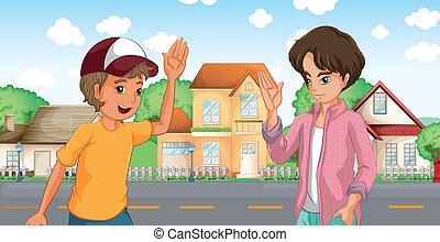 garçons, grand, deux, maisons, réunion, travers, route