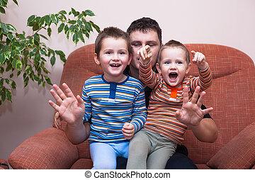 garçons, heureux, papa, rire, enfants