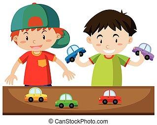 garçons, jouer, deux, voitures
