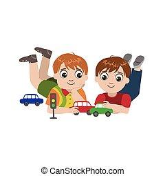 garçons, jouet, jouer, voitures