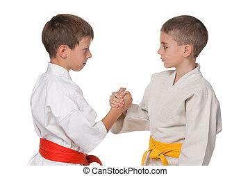 garçons, kimono, poignée main