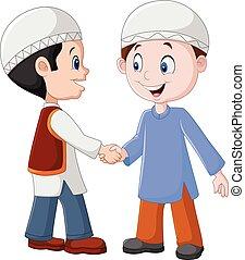 garçons, musulman, secousse, dessin animé, mains