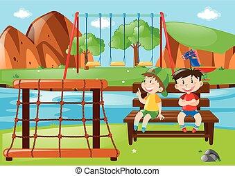 garçons, parc, deux, séance