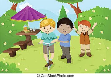 garçons, parc, jouer