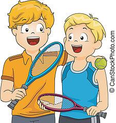 garçons, pelouse, tennis