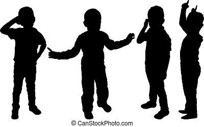 garçons, silhouettes, ensemble