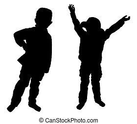 garçons, silhouettes, peu, deux