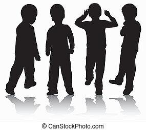 garçons, silhouettes