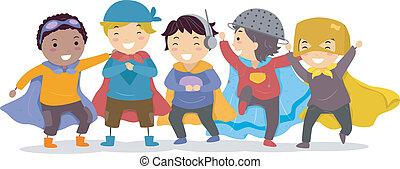 garçons, superheros, habillé