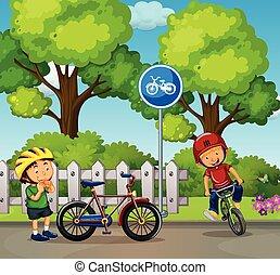 garçons, vélo, parc, deux, équitation