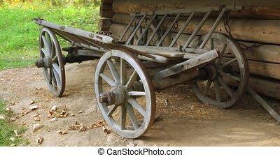 garé, bûche, ukraine, rural, bois, cabine, charrette, cheval