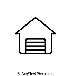 garaż, kreska, cienki, ikona