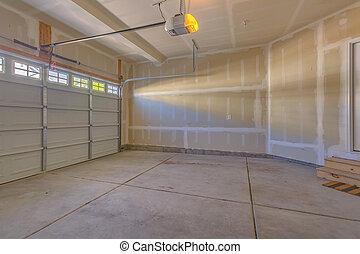 garaż, w, niejaki, nowy, zbudowanie, dom