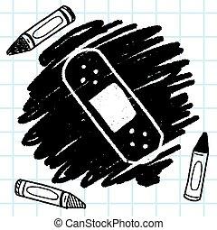 garabato, adhesivo, dibujo, venda