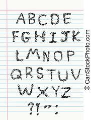 garabato, alfabeto, en, papel cuaderno