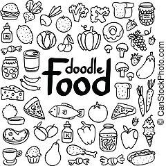garabato, alimento, conjunto, de, 50, vario, productos, fruits, vegetales, y, mucho, more.