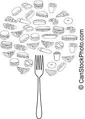 garabato, alimentos, árbol