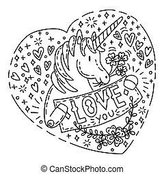 garabato, amor, unicornio, usted