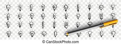 garabato, bombillas, luz, conjunto