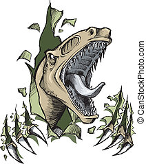 garabato, bosquejo, raptor, dinosaurio