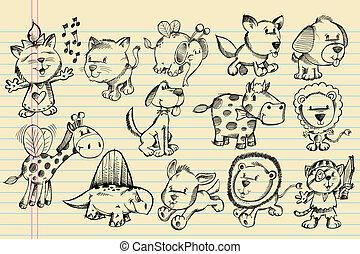 garabato, bosquejo, vector, conjunto, animal