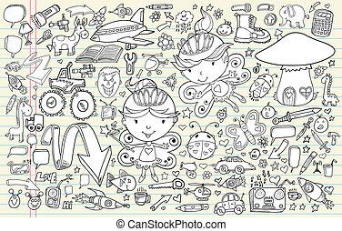 garabato, bosquejo, vector, conjunto, elementos