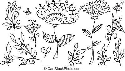 garabato, bosquejo, vector, flores, primavera