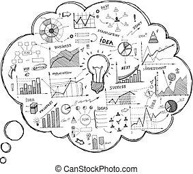 garabato, burbuja del discurso, icono, con, infographics