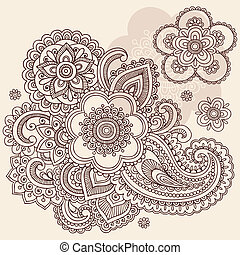 garabato, cachemira, vector, alheña, flor