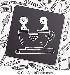 garabato, café, parque, juego, taza