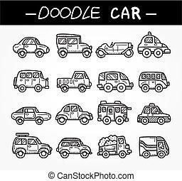 garabato, caricatura, coche, icono, conjunto