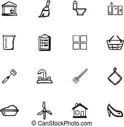 garabato, compañía, conjunto, limpieza, iconos
