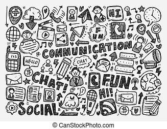 garabato, comunicación, plano de fondo