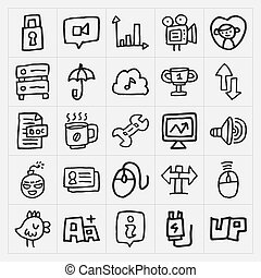 garabato, conjunto, iconos de la tela