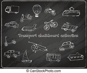 garabato, conjunto, pizarra, transporte