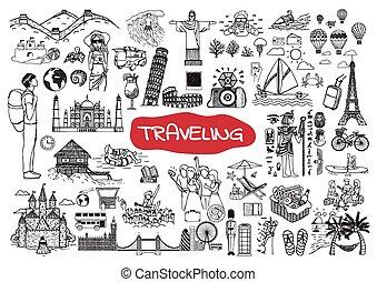 garabato, conjunto, viajar