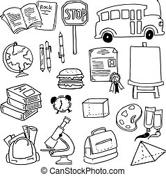 garabato, de, escuela, elemento, para, niños