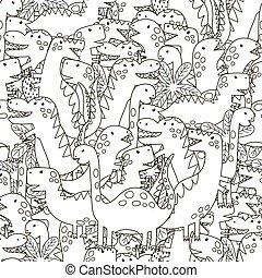 garabato, dinosaurios, seamless, patrón