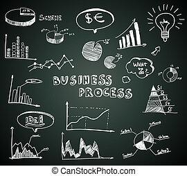 garabato, empresa / negocio, diagramas, conjunto, en, pizarra