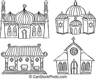 garabato, estilo, rezando, lugar