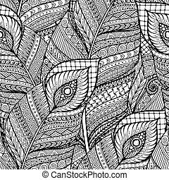 garabato, feathers., seamless, vector, negro, retro, plano de fondo, étnico, patrón floral, blanco, asiático