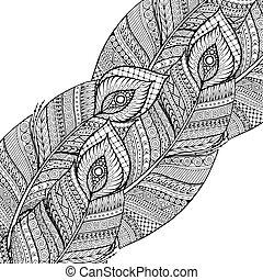 garabato, feathers., vector, negro, retro, plano de fondo, étnico, patrón floral, blanco, asiático