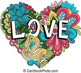 garabato, floral, corazón, con, amor, letras