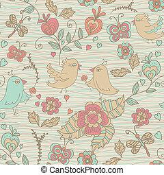 garabato, flores,  seamless, Plano de fondo, Aves