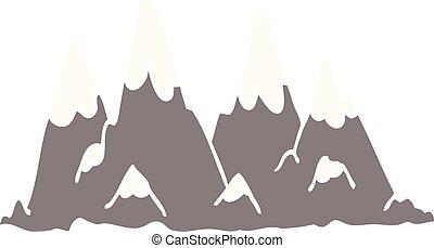 garabato, gama, caricatura, montaña