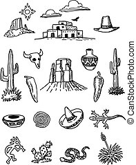garabato, hand-drawn, conjunto, desierto