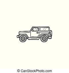 garabato, icon., mano, jeep, dibujado, contorno