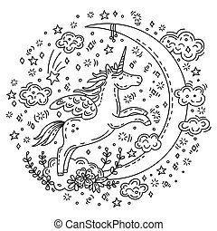 garabato, luna, unicornio