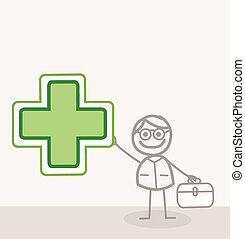 garabato, médico, farmacia, señal
